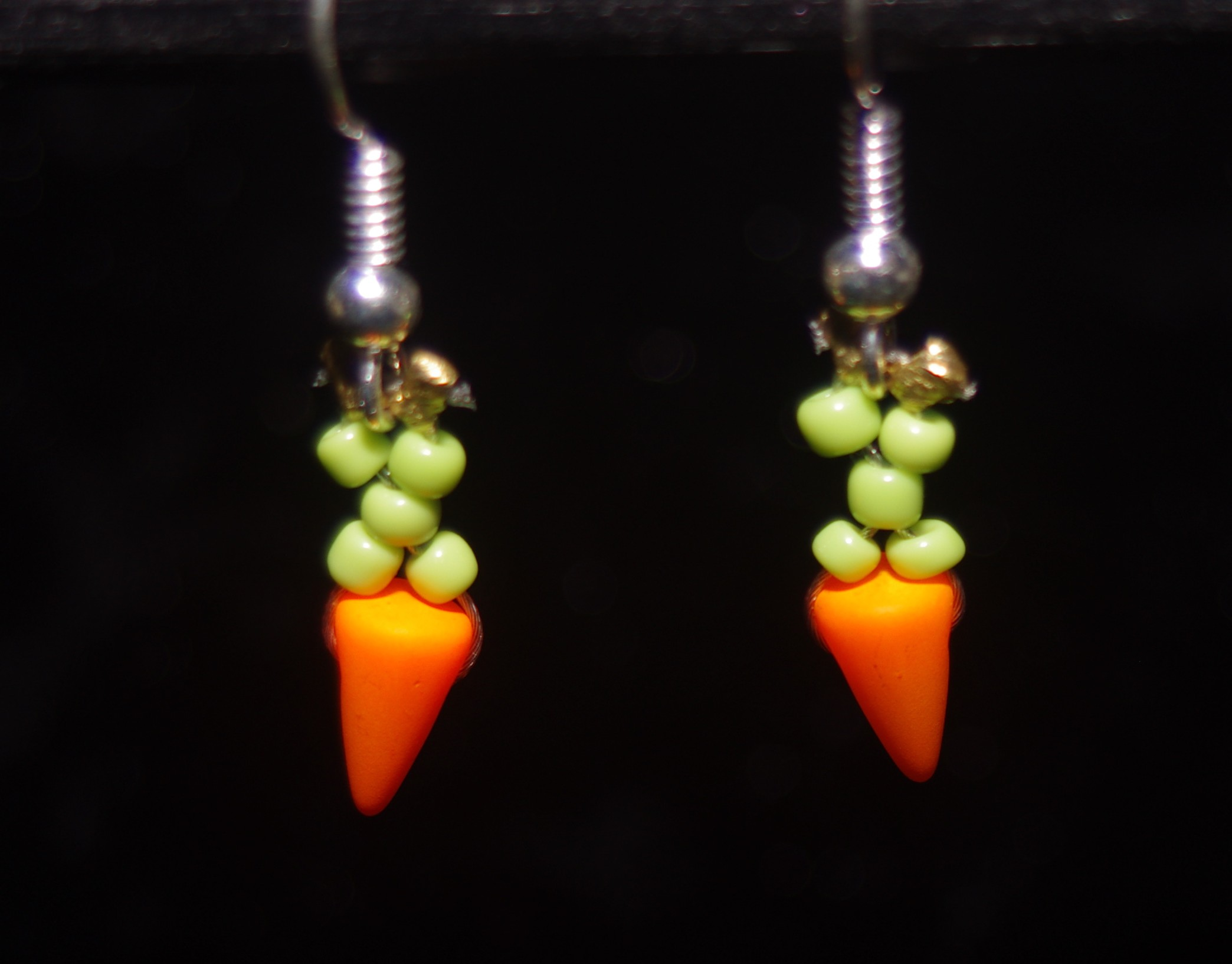 Carrot charm earrings