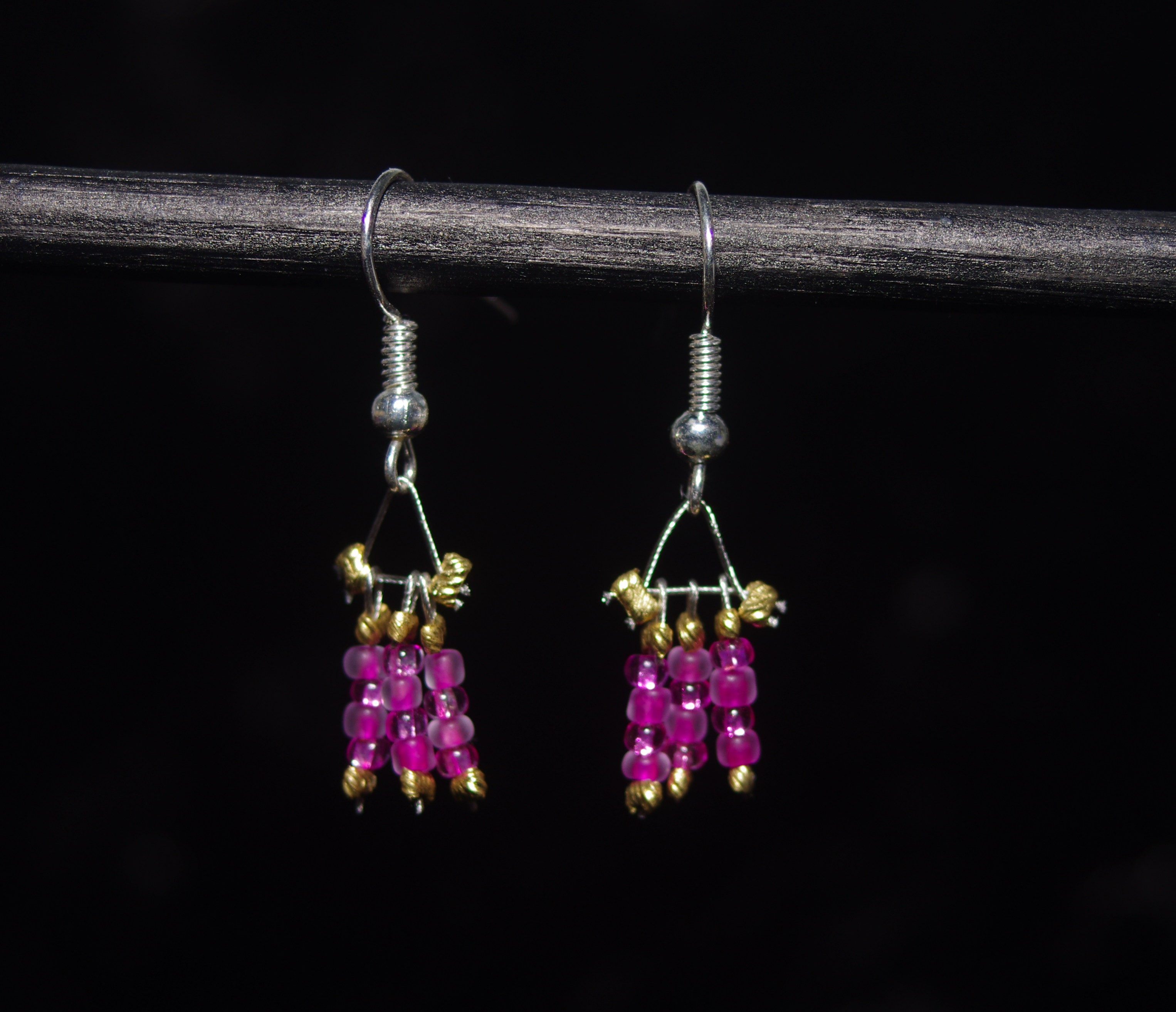 Pink Checkerboard Earrings